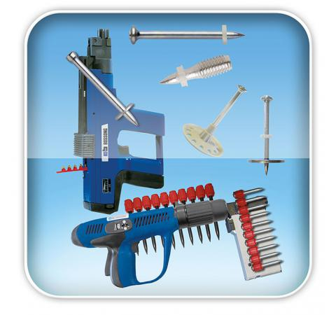 Powder actuated and gas fastening system